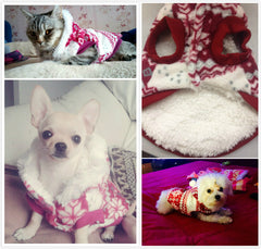 Soft Winter Pets Dogs Cats Jacket. Christmas Hoodie Coat