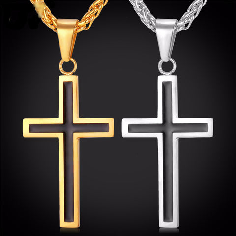 Black Cross Pendant & Necklace Stainless Steel  Jewelry For Men. FREE USA Shipping
