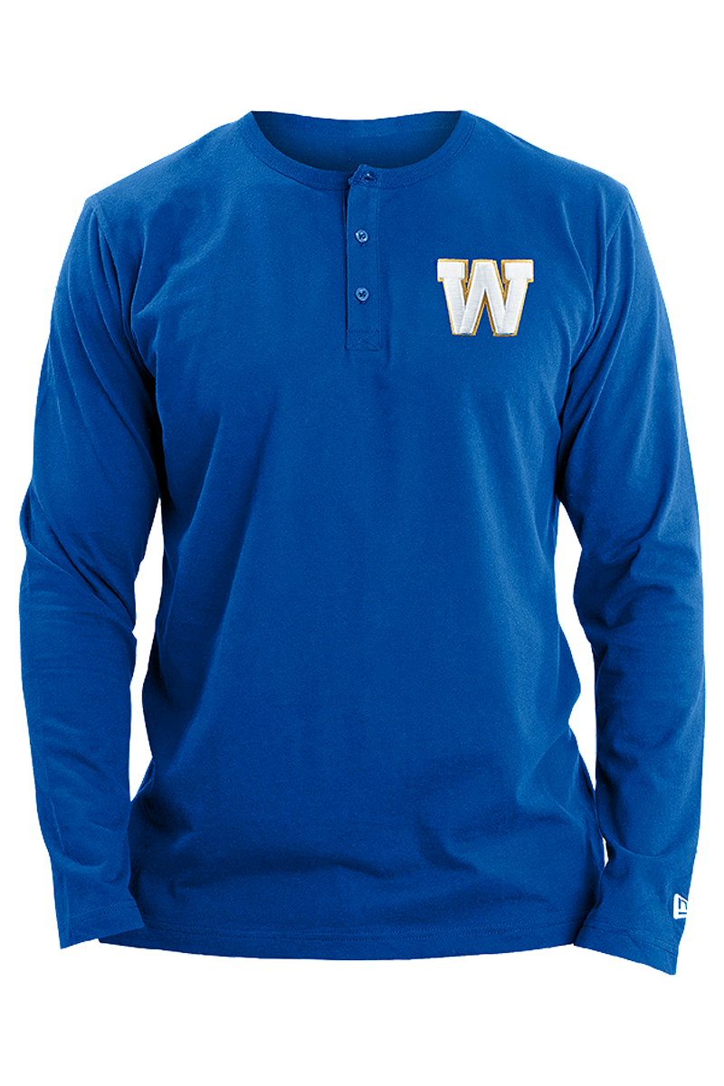 Blue Bombers New Era Men's Henley Long Sleeve Top