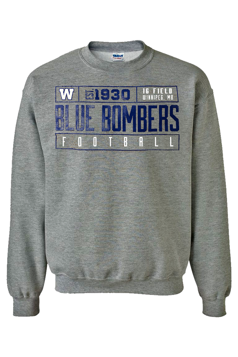 Blue Bombers Football Grey Crewneck