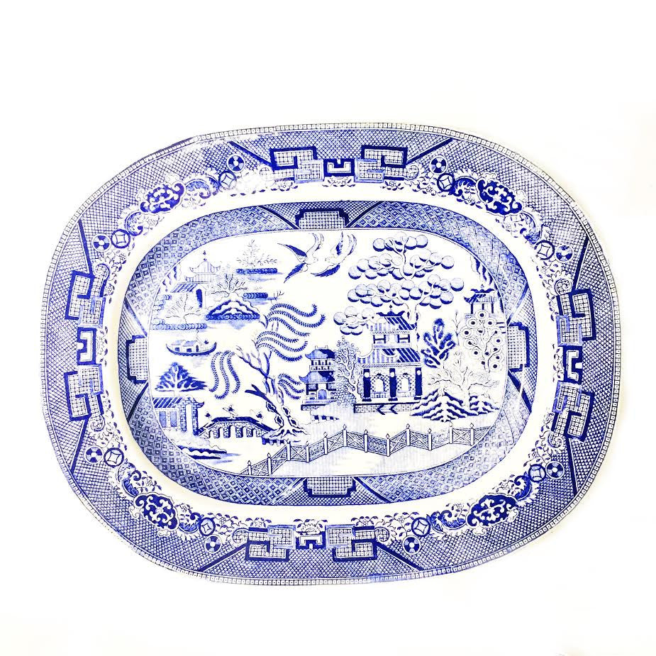 Antique English Blue Willow Platter