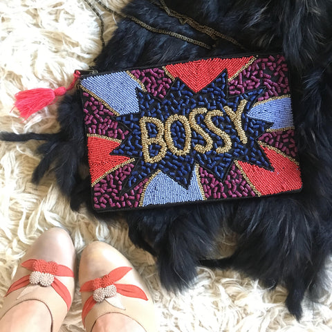"Beaded ""Bossy""Clutch With Metal Chain"
