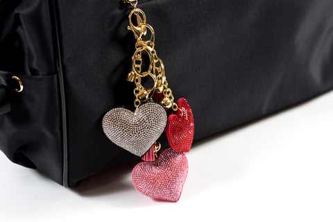 Rhinestoned Heart Good Luck Charm/Keychain