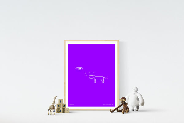 Cowsay WTF 18in x 24in Framed Print