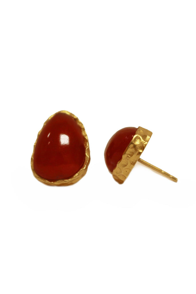 Earrings, Christina Greene - Stud Earrings, CHRISTINA GREENE, $95.00, NARIE Clothing, Christine Greene jewelry, dress, earring, earrings, gold, gold plated, jewelry, quartz, red, stud, studs, turquoise, $95.00, ,
