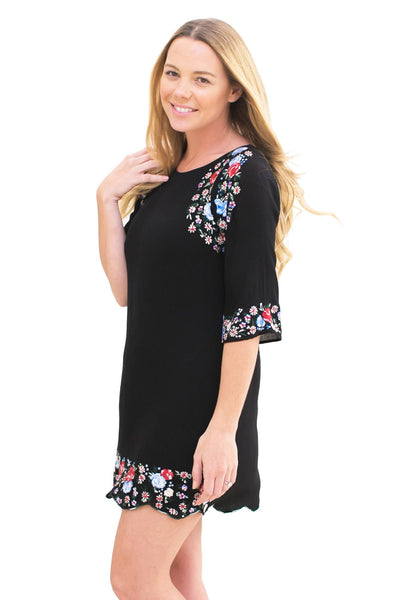 Embroidered Dahlia Dress - NARIE Clothing