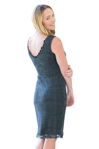 Bodycon Dresses, Grey Lace Dress, MYSTIC, $30.00, NARIE Clothing, black, bodycon, dress, evening dresses, gray, gray dress, lace, lace dress, mystic clothing, Narie clothing, neckline, overlay, scalloped, short, special occasion dresses, $30.00, $95.00,