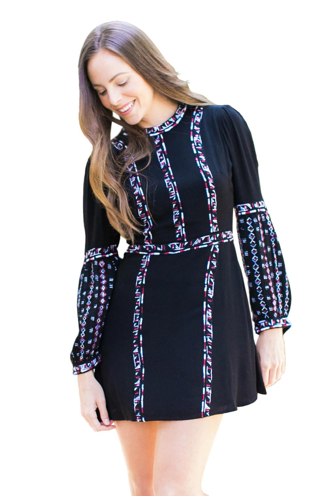 Short Dresses, Ayana Sweetheart Dress, RAHI CALI, $70.00, NARIE Clothing, Ayana Sweetheart Dress, bohemian dress, choker dress, dress, dresses, long sleeved, long sleeves, Narie clothing, navy, patterned, peasant sleeves, rahi cali clothing, Rahi Cali Dresses, short, tribal, $70.00, ,