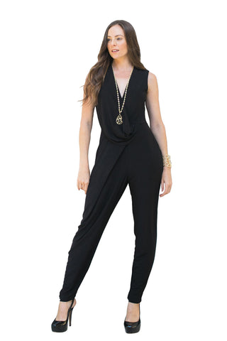 Jumpsuits, Sleeveless Drape Neck Jumpsuit, MYSTIC, $99.00, NARIE Clothing, black, drape neck, evening wear, featured summer product, jumpsuit, jumpsuits, Mystic, mystic clothing, NARIE CLOTHING, romper, sleeveless, sleeveless jumpsuit, v neck, $99.00, ,