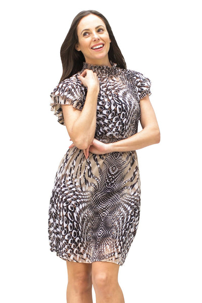 Midi Dresses, Feather Print Dress, MYSTIC, $40.00, NARIE Clothing, brown, collar, dress, dresses, feather, feather print dress, feathers, funnel collar dresses, high, Narie clothing, pattern, ruffled, short, short sleeves, sleeves, $40.00, $80.00,