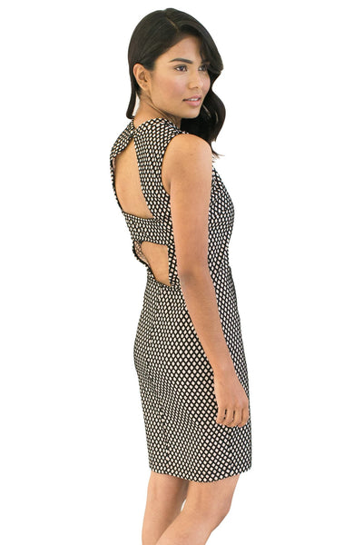 Black & Cream Mesh Sheath Dress - NARIE Clothing