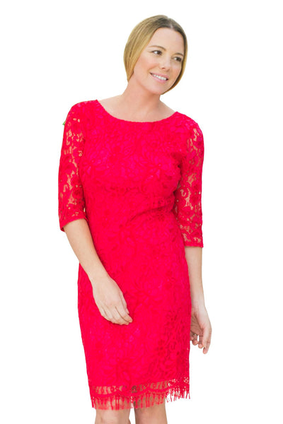 Red Lace Dress - NARIE Clothing