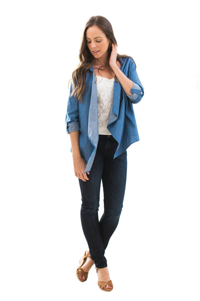 Open Chambray Lightweight Jacket - NARIE Clothing