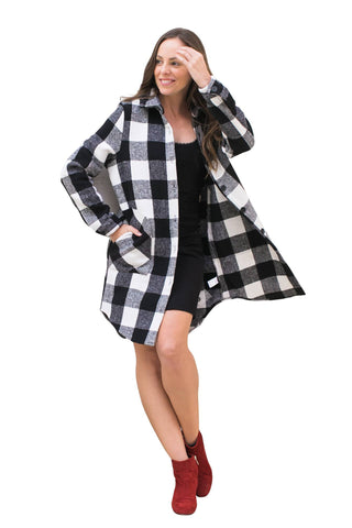 Coats, Buffalo Plaid Coat, RD CLOTHING, $70.00, NARIE Clothing, buttoned, buttons, casual wear, checkered, coat, coats, flannel coat, jackets, long, Narie clothing, outwear, plaid, RD clothing, sleeved, $70.00, $140.00,