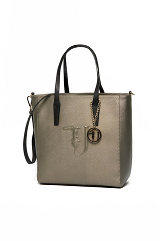 Crossbody Handbags, Tote Handbags, Carry Over Ischia Shopper, Trussardi, $95.00, NARIE Clothing, black, bronze, gunmetal, shopper, tote bags, tote handbags, $95.00, ,