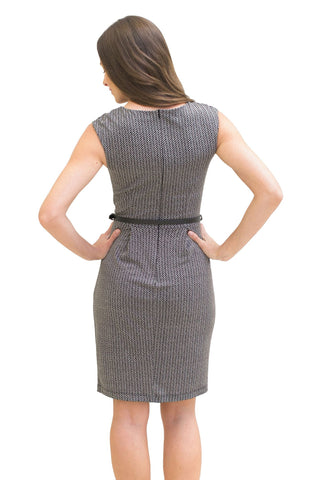 Sheath Dresses, Herringbone Print Dress, MYSTIC, $48.30, NARIE Clothing, belt, belted, dresses, fitted dresses, herringbone dresses, herringbone print, mystic clothing, Narie clothing, patterned, pocket, pockets, ruched, sheath, Short dress, sleeveless, work dresses, $48.30, $69.00,
