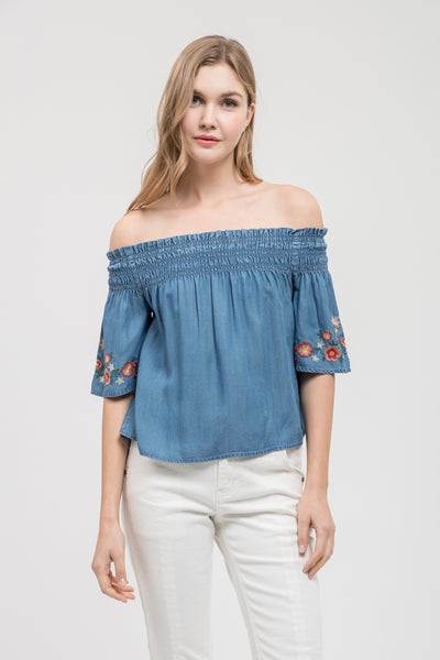 Off Shoulder Embroidered Top
