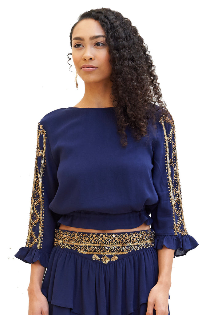 Blouses, Gilded Cocktail Blouse, RAHI CALI, $76.00, NARIE Clothing, 3/4 sleeve, beaded, beaded top, blue, Blue top, crop top, gilded, gold, navy, navy top, rahi cali, tops, $76.00, ,