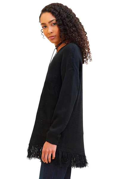 Fringed Tunic Sweater - NARIE Clothing