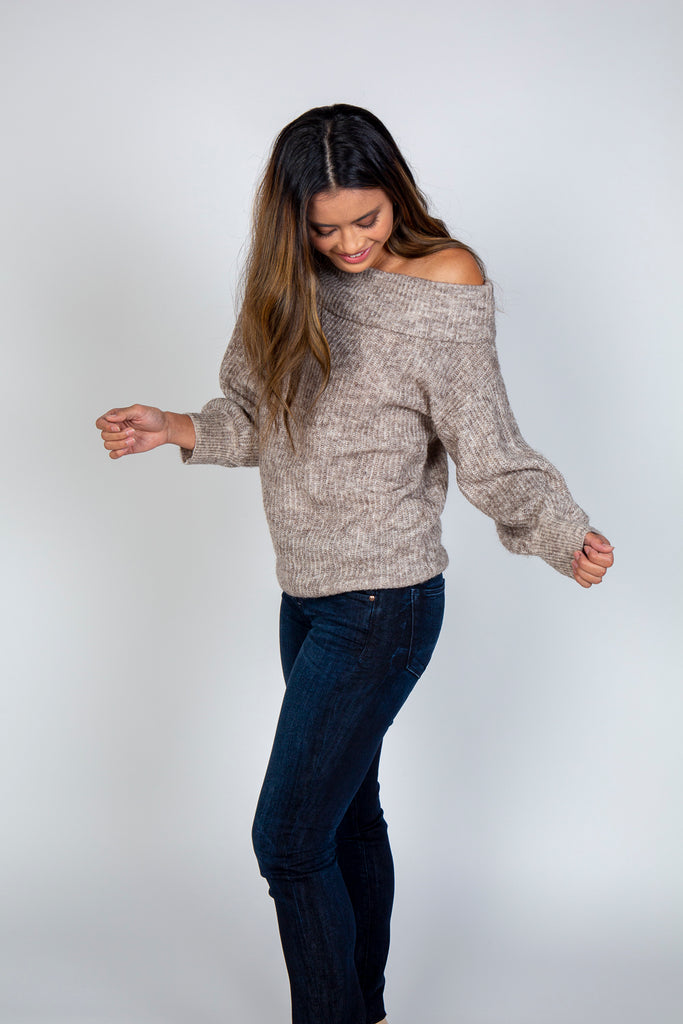 Sweater, Off shoulder sweater, RD CLOTHING, $70.00, NARIE Clothing, comfy, Narie clothing, natural, off shoulder, RD clothing, sweater, $70.00, ,