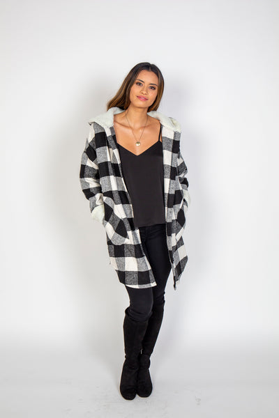 Buffalo Plaid Hood Coat