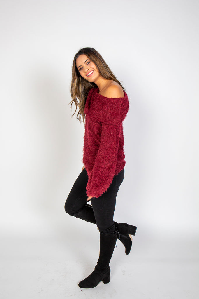 Top, Off Shoulder Sweater, Blu Pepper, $89.00, NARIE Clothing, Blu Pepper, burgundy, comfy, Narie clothing, off shoulder, sweater, top, $89.00, ,