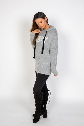 Sweater, Funday sweater, RD CLOTHING, $70.00, NARIE Clothing, cosy, fun, grey sweater, hood, hooded sweater, long sweater, Narie clothing, RD clothing, $70.00, ,