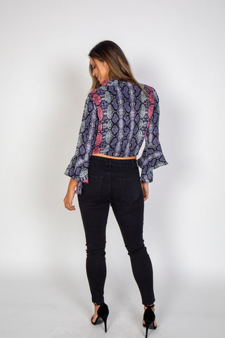 Top, Snake print top, Luna, $90.00, NARIE Clothing, blouse, Luna, Narie clothing, Snake print, Tie knot, tie knot blouse, top, $90.00, ,