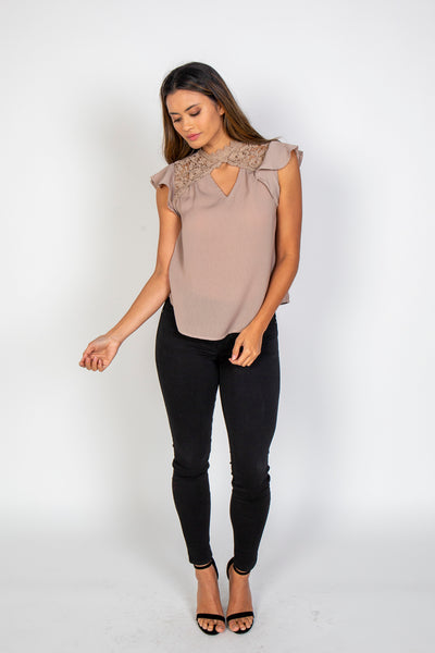 Front keyhole lace top