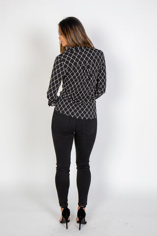 Top, Quatrerfoil shirt, Blu Pepper, $60.00, NARIE Clothing, black, blouse, button, buttoned, collar, print, shirt, top, $60.00, ,