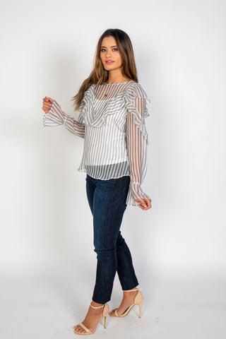 Top, Ruffle stripe top, Q&A, $100.00, NARIE Clothing, , $100.00, ,
