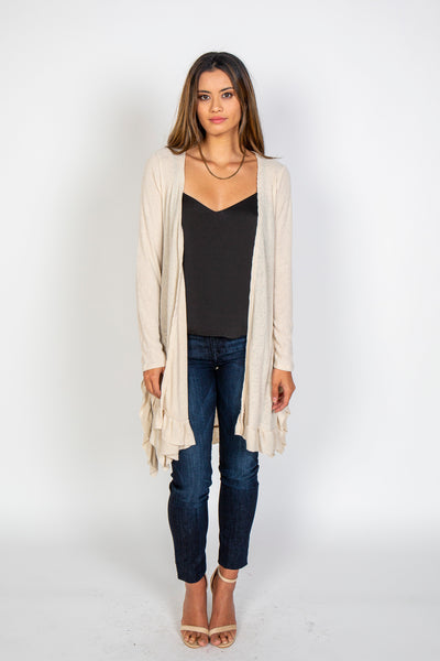 Cardigans, Long cardigan with ruffles, Blu Pepper, $80.00, NARIE Clothing, Blu Pepper, cardigan, cozy, long cardigan, Narie clothing, oatmeal, ruffle, $80.00, ,
