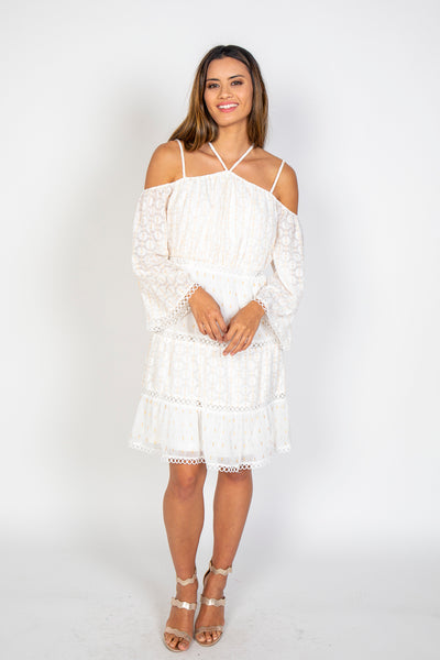 Cold shoulder lurex dress