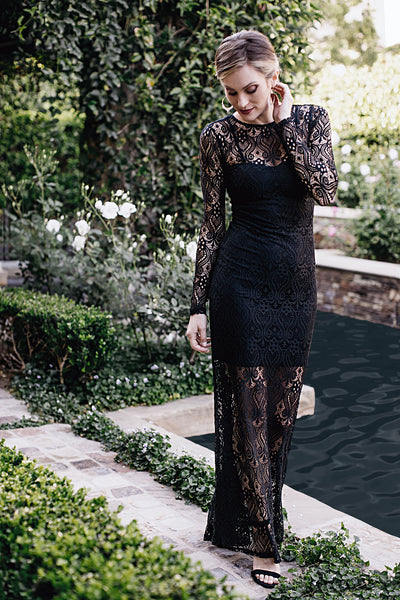 Long Dresses, Embroidered Lace Dress, MYSTIC, $145.00, NARIE Clothing, black dress, black lace, black lace dress, dress, embroidered, embroidered black dress, embroidered lace dress, lace, long sleeve dress, mystic dress, special occasion dress, $145.00, ,