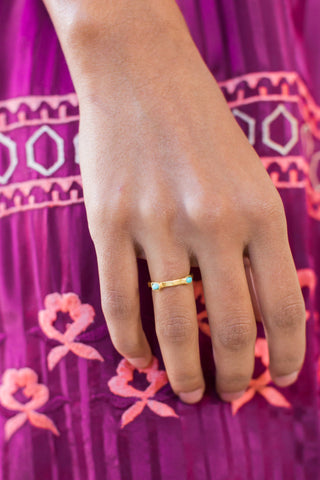 Rings, Christina Greene - Dainty 2 Stone Ring, CHRISTINA GREENE, $50.00, NARIE Clothing, accessories, Adjustable fit rings, black, blue, Christine Greene jewelry, Dainty 2 Stone Ring, gold, mint, Narie clothing, RING, rings, semi precious stones, stacked, turquoise, $50.00, ,