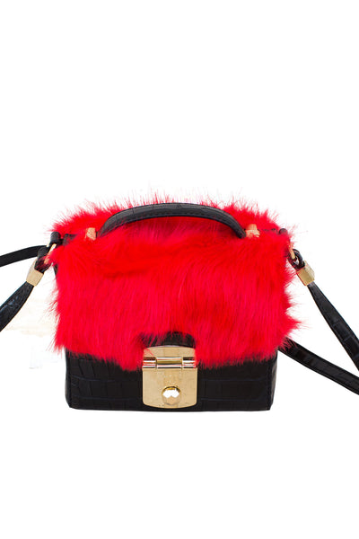Crossbody Handbags, Levanto Mini Bag w/ Ecofur, Trussardi, $111.00, NARIE Clothing, accessories, bag, bags, crossbody, emerald, faux fur, fur accent purses, green, handbag, handbags, Levanto Mini Bag Ecofour, mini crossbody, Narie clothing, red, satchel, tote handbags, Trussardi, trussardi handbags, vegan, vegan leather, $111.00, $185.00,