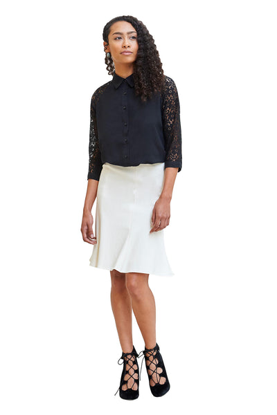 Skirts, Beverly Fit & Flare Skirt, Klarety, $125.00, NARIE Clothing, black, black skirt, bottoms, klarity clothing, knee length, off-white, off-white skirt, skirt, skirts, $125.00, ,