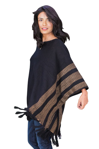 Ponchos, Knitted Fringe Poncho, Cozy Casual, $40.00, NARIE Clothing, black, casual wear, cozy casual, cozy casuals, fringe, knit, Narie clothing, outwear, poncho, thick, $40.00, $52.00,