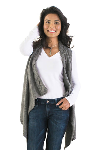 Vests, Cable-Knit Vest, Cozy Casual, $40.00, NARIE Clothing, cable, cableknit, casual wear, cozy casual, dress, gray, knit, Narie clothing, outwear, sweater, tan, vest, vests, $40.00, $48.00,