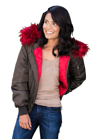 Jackets, Quilted Bomber Jacket With Contrast Faux Fur Collar, RD CLOTHING, $99.00, NARIE Clothing, black, bomber, bomber jacket, contrasting fur hooded jacket, faux, fur, green bomber jacket, inner, jacket, jackets, lining, olive, quilted, RD clothing, red, scarlet, zipper, $99.00, $198.00,