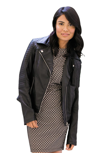 Faux-Leather Moto Jacket with Removable Collar - NARIE Clothing