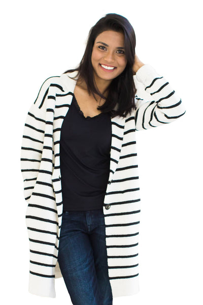 Striped Knit Sweater - NARIE Clothing
