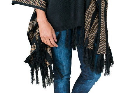 Ponchos, Knitted Fringe Poncho, Cozy Casual, $26.00, NARIE Clothing, black, casual wear, cozy casual, cozy casuals, fringe, knit, Narie clothing, outwear, poncho, thick, $26.00, $52.00,