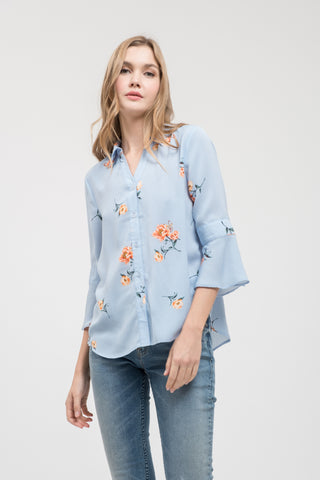 Shirts, Button Down Floral Top, Blu Pepper, $45.00, NARIE Clothing, blouse, blouses, Blu Pepper, blue, Blue top, floral, floral blouse, floral print, flower blouse, Flower print, flowers, long sleeve blouse, Long Sleeve top, long sleeved, long sleeves, stripe, striped, stripes, $45.00, ,
