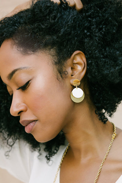 Jewelry, Audrey Earrings, Purpose Jewelry, $50.00, NARIE Clothing, accessories, brass, brass earrings, gold, jewelry, Narie clothing, Purpose jewelry, $50.00, ,