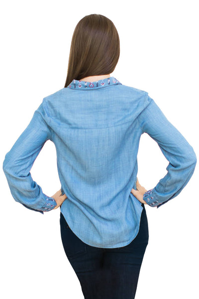 Denim Pandora Lace-up Shirt - NARIE Clothing