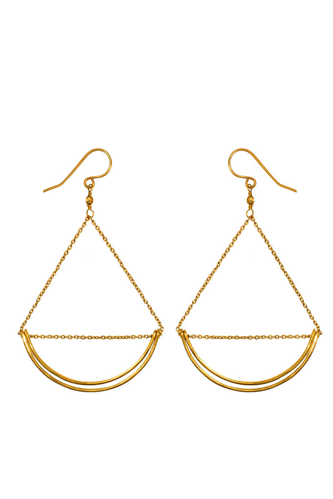 Earrings, Purpose Jewelry - Lunette Earrings, Purpose Jewelry, $20.00, NARIE Clothing, accessories, brass, drop earrings, earring, gold, jewelry, lunette earrings, Purpose jewelry, $20.00, ,