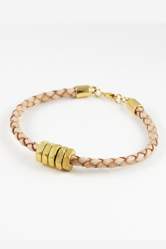 Cuffs, The Honeybee Bracelet, Half United, $45.00, NARIE Clothing, bangles, blush, blush bracelet, cuff, gold, gold bracelet, gold plated, half united, hex, hex bracelet, leather bracelet, Narie clothing, $45.00, ,