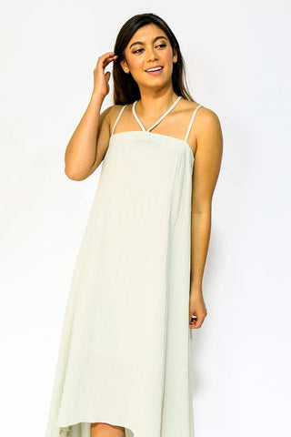High Low Dress, High Low Dress, Doe & Rae, $70.00, NARIE Clothing, Doe & Rae, dress, grey, grey dress, high low, high low dress, Narie clothing, strappy, strappy dress, textured, textured dress, $70.00, ,