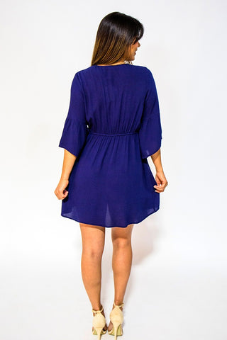 Short Dresses, V-Neck Embroidered Dress, Blu Pepper, $40.00, NARIE Clothing, Bell Sleeve dresses, Blu Pepper, blue, blue dress, Bohemian, bohemian dress, embroidered, embroidered dress, nari clothing, NARIE, Narie clothing, navy, Navy dress, $40.00, ,